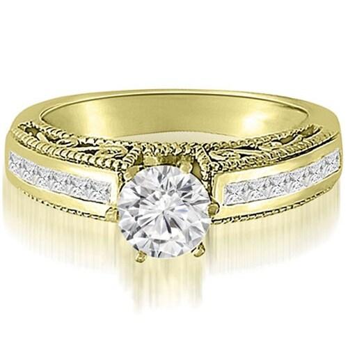 1.60 cttw. 14K Yellow Gold Antique Milgrain Round Cut Diamond Engagement Ring