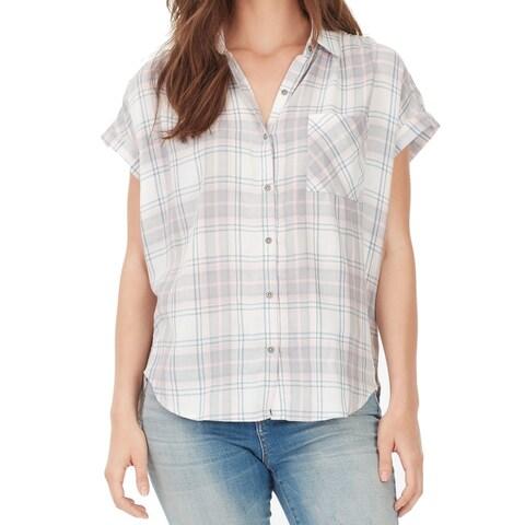 William Rast Pink Gray Womens Size XL Button Down Plaid Shirt