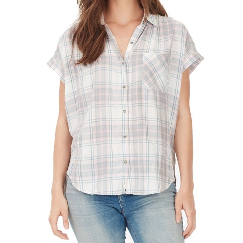 William Rast Pink Women's Size XL Plaid Print Button Down Shirt