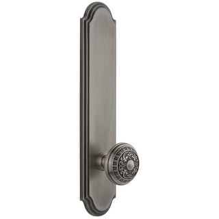 Grandeur ARCWIN_TP_PRV_234_LH  Arc Solid Brass Tall Plate Rose Left Handed Privacy Door Knob Set with Windsor Knob and 2-3/4""