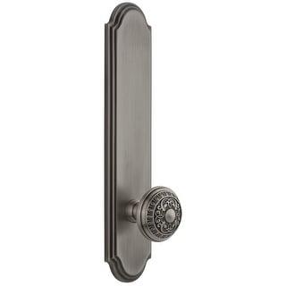 "Grandeur ARCWIN_TP_PSG_234  Arc Solid Brass Tall Plate Rose Passage Door Knob Set with Windsor Knob and 2-3/4"" Backset"