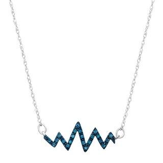 1/10 ct Blue Diamond Heartbeat Pendant in 10K White Gold