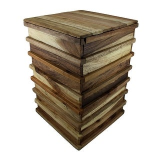 Stacked Recycled Acacia Wood Accent Stool/Plant Stand - Brown