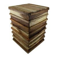 Stacked Recycled Acacia Wood Accent Stool/Plant Stand