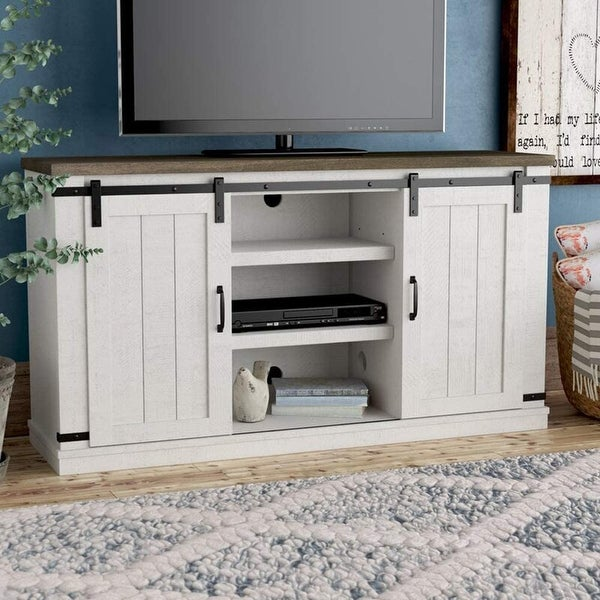 Bli Barn Door TV Stand for 60 Inch With Cable Management,Gray. Opens flyout.
