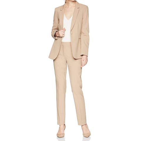 Tahari by ASL Womens Suits Beige Size 12 Pant One-Button Notch-Lapel