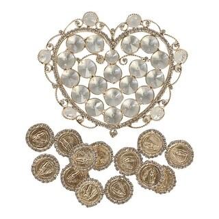 Angels Garment Gold Glamorous Heart Shaped Holder Coins Wedding Arras