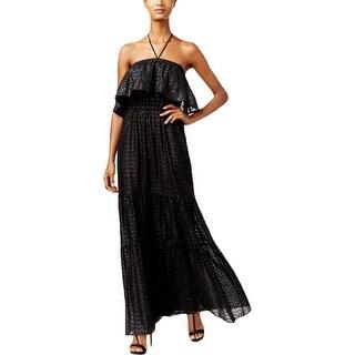 Michael Kors Womens Petites Evening Dress Metallic Halter - pl