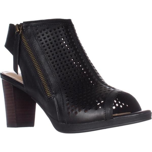 Bella Vita Lenore Heeled Peep Toe Zip Sandals, Black Leather