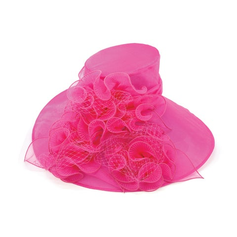 ChicHeadwear Womens Wide Brim Lace Organza Fashion Hat - One size