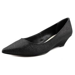Nina Liane Women Open Toe Canvas Black Wedge Heel