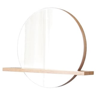 "Native Trails MC28 Renewal Solace Circular 35""H x 28""W Flat Bamboo Mirror with Shelf"