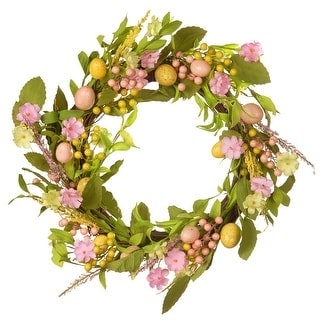 Decorated Easter Artificial Wreath - 22-Inch - N/A