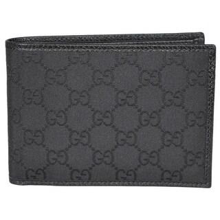 "Gucci Men's 292534 4198 Black Nylon GG Guccissima W/Coin Large Bifold Wallet - 5.25"" x 3.75"""