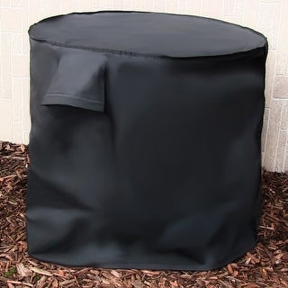 Sunnydaze Heavy-Duty Black Round Air Conditioner Protective Cover - 34 X 30-Inch