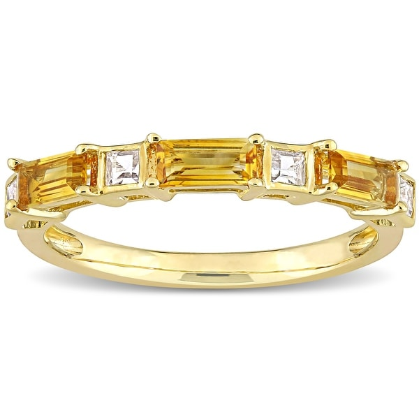 Miadora 10k Yellow Gold Baguette & Square Citrine & White Topaz Stackable Eternity Wedding Band Ring. Opens flyout.