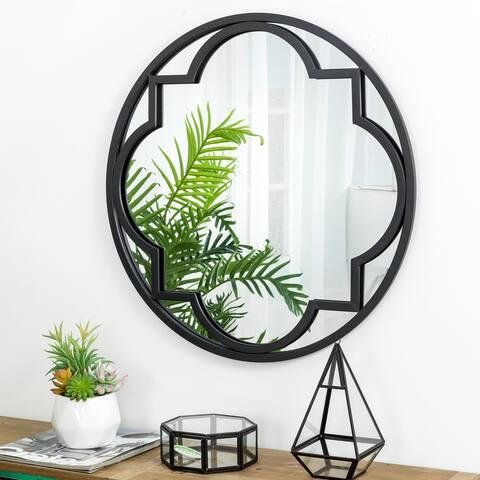 """Glitzhome 24""""D Black Round Metal Glass Wall Mirror - 24"""""""