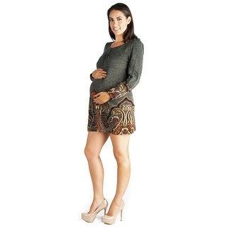 24seven Comfort Apparel Long Sleeve Maternity Mini Sweater Dress