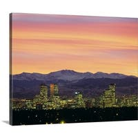 Premium Thick-Wrap Canvas entitled Skyline and mountains at dusk, Denver, Colorado - Multi-color
