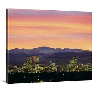 Premium Thick-Wrap Canvas entitled Skyline and mountains at dusk, Denver, Colorado - Multi-color