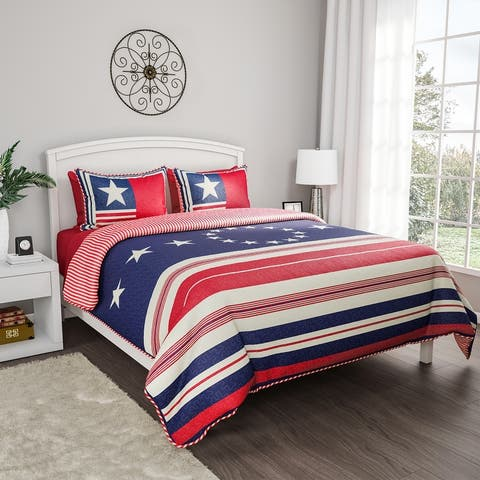 2- or 3-Piece Quilt Set- Hypoallergenic Polyester Microfiber Patriotic Americana Flag Print Blanket with Shams by Windsor Home