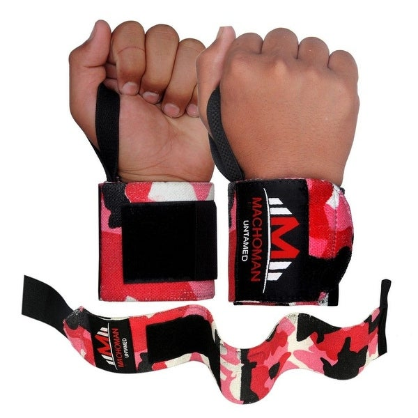 Weight Lifting Wrist Wraps Support Gym Training Bandage Straps Camo Red B-3