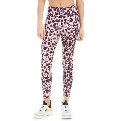 Calvin Klein Leopard Print High-Waist Leggings, Garnet Combo, XS