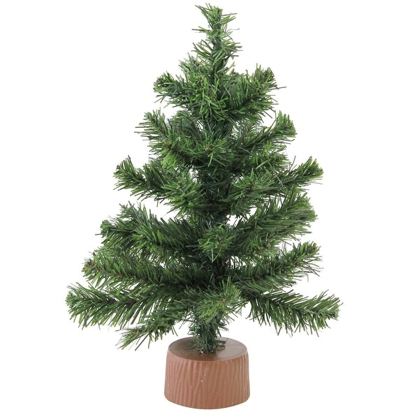 """12"""" Mini Canadian Pine Artificial Christmas Tree in Faux Wood Base - Unlit - green"""