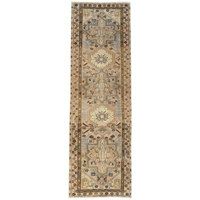 """Shahbanu Rugs Semi Antique Light Brown With Colors Persian Heriz Worn Down Hand Knotted Pure Wool Runner Rug (3'4"""" x 10'5"""")"""