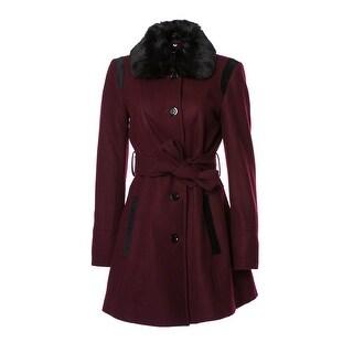 Wool Coat w/ Faux Trim