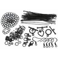 479917 Jewelry Basics Metal Findings 145-Pkg-Black Starter Pack