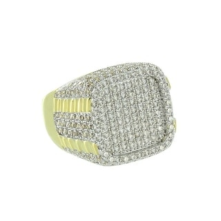 Iced Out Mens Ring Presidential Design Yellow Gold Tone Lab Diamonds