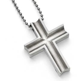 Titanium mens necklaces for less overstock chisel titanium polished cross necklace 24 in aloadofball Images