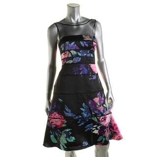 Aidan Mattox Womens Floral Print Illusion Party Dress