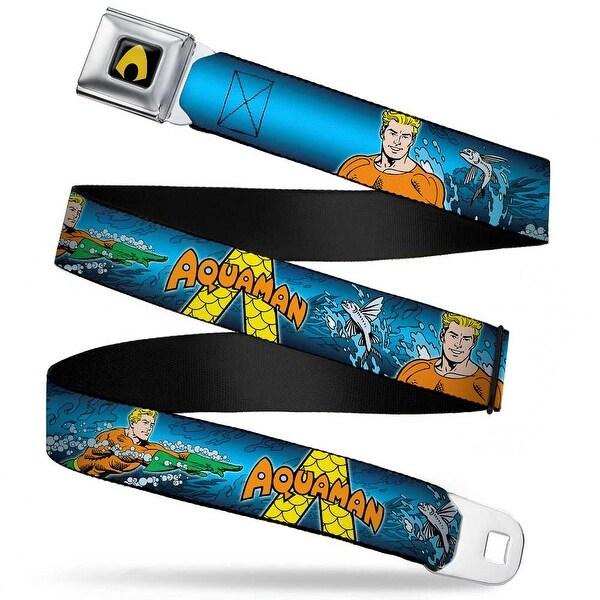 Aquaman Logo Full Color Black Yellow Aquaman Action Poses3 Flying Fish Seatbelt Belt