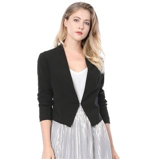 Allegra K Women Collarless Work Office Business Casual Cropped Blazer