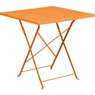 Westbury Square 28'' Orange Steel Folding Table for Indoor/Outdoor/Patio/Bar/Restaurant