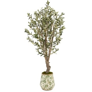 """Link to 62"""" Olive Artificial Tree in Floral Print Planter Similar Items in Decorative Accessories"""