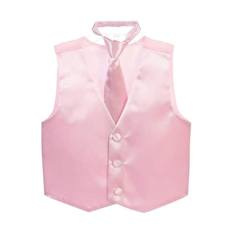 Little Boys Pink Three Button Satin Vest Tie 2 Pc Set
