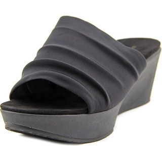 Bandolino Dallin Women Open Toe Canvas Black Wedge Sandal