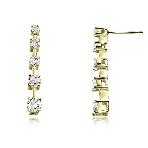 1.50 cttw. 14K Yellow Gold Classic Journey Round Cut Diamond Earrings - White H-I