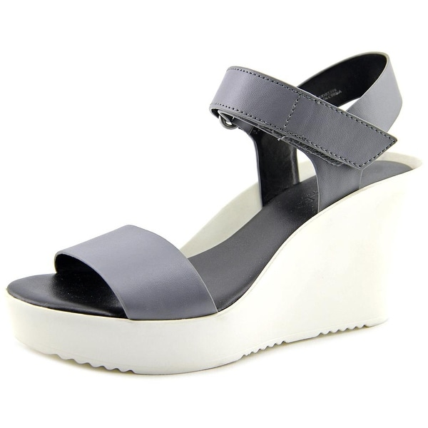 Charles By Charles David Camp Women Open Toe Leather Gray Wedge Sandal