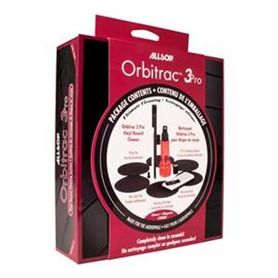 Allsop Orbitrac 3 Pro Vinyl Record Cleaning System, 2X Cleaning Cartridges, Protective Non-Skid Pad, Cleaner Fluid, Revi