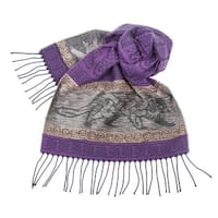 "Women's Cat Scarf - Purple and Gray - Celtic Beasties Collection - 75"" Long"