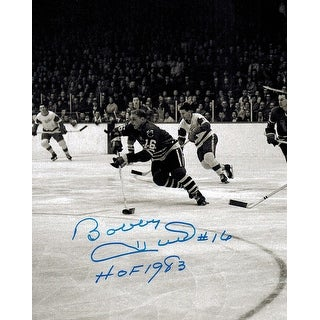 Bobby Hull Signed Blackhawks B&W 1961 Finals Action 8x10 Photo w/HOF 1983