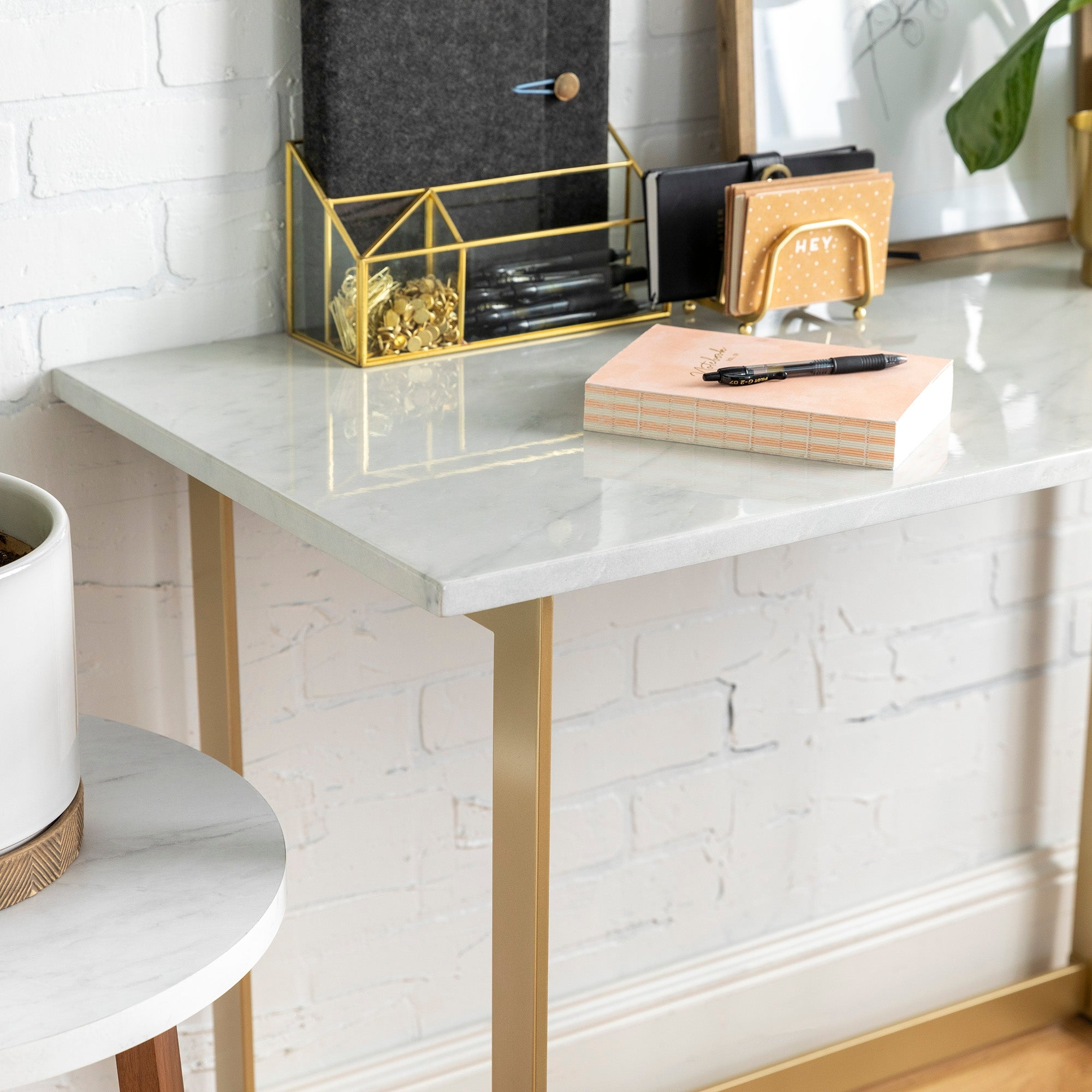 Silver Orchid Madsen Faux Marble Writing Desk Overstock 22848922 White Faux Marble