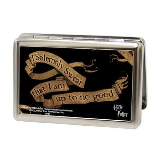 Harry Potter I Solemnly Swear That I Am Up To No Good Banner Fcg Black Tan Business Card Holder