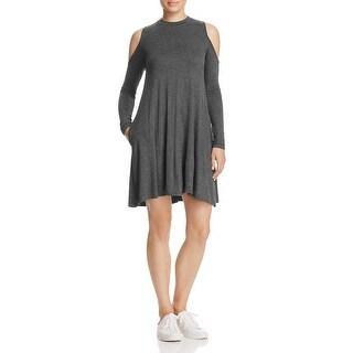 Elan Womens Casual Dress Cold Shoulder Crew Neck