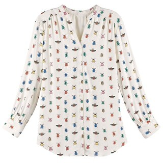 Women's Blouse - Colorful Bug Me Print Button Down Shirt (More options available)
