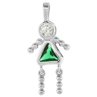 Sterling Silver Birthstone Charm May Baby Brat Girl Emerald Color Cubic Zirconia